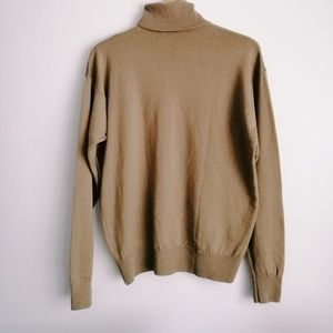 Vintage 100% Wool Turtleneck Tan Golden Olive